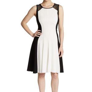 Elie Tahari Dress Patti Fit Flare Black White Sz 2
